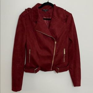 Romeo + Juliet couture burgundy suede moto jacket